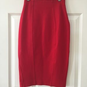 Express Red High Waisted Midi Skirt Professional